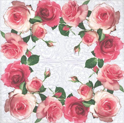 2 serviettes en papier fleurs roses paper napkins rose blossom ebay. Black Bedroom Furniture Sets. Home Design Ideas