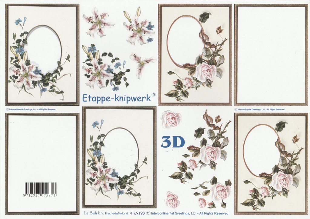 feuille 3d a4 cadre fleurs rose passioncreationcollection. Black Bedroom Furniture Sets. Home Design Ideas