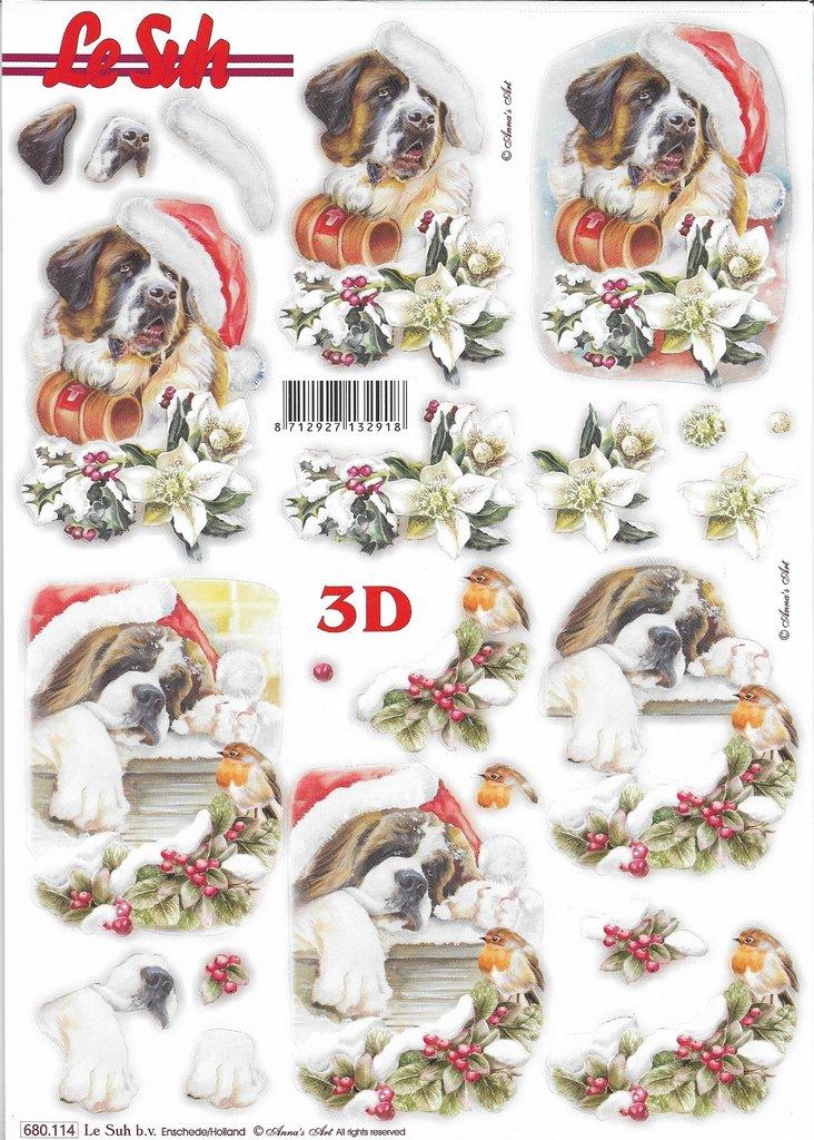 3D Die cut Sheet A4 Christmas Dog