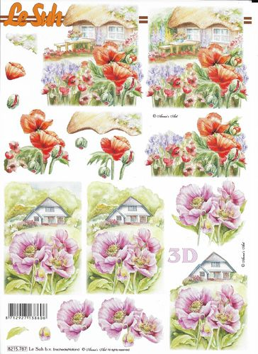 Feuille 3D 8215.787 Paysage Coquelicot