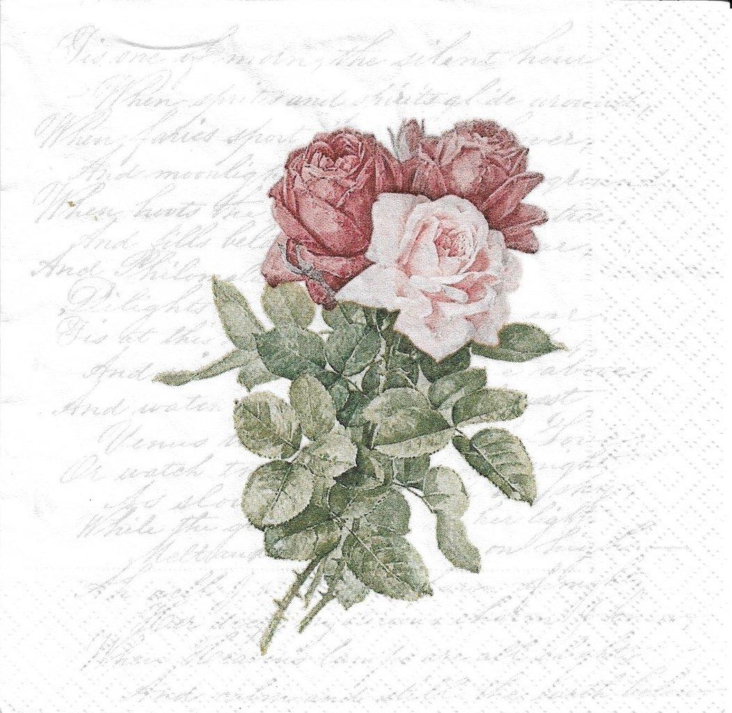 2 Paper Napkins Roses Love Poem