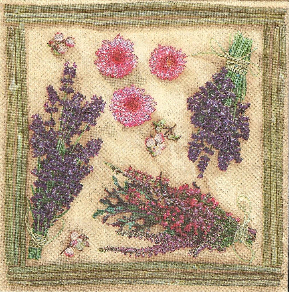 2 Serviettes en papier Fleurs Lavande Decoupage Paper Napkins Flowering Lavender