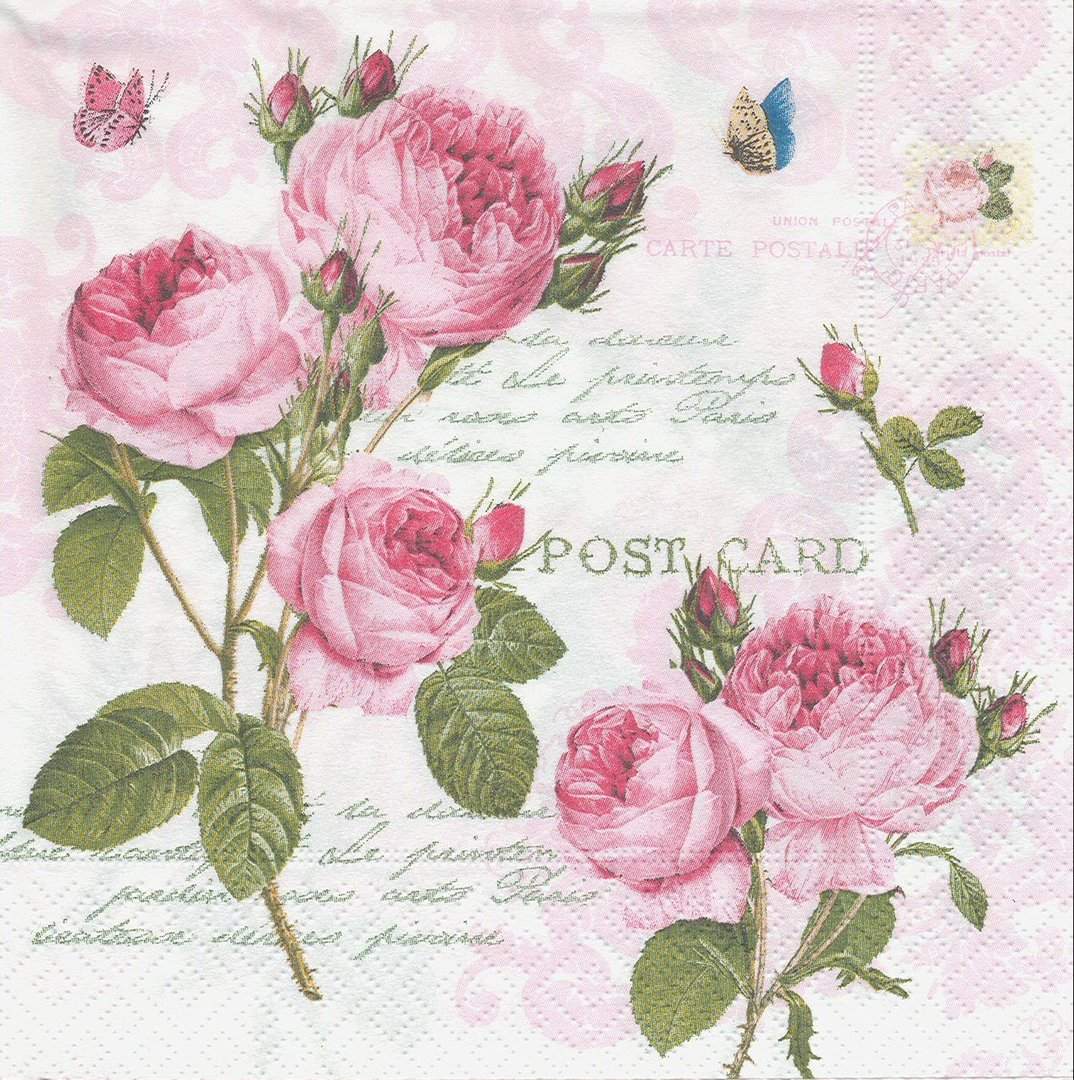 serviette en papier fleurs roses passioncreationcollection. Black Bedroom Furniture Sets. Home Design Ideas