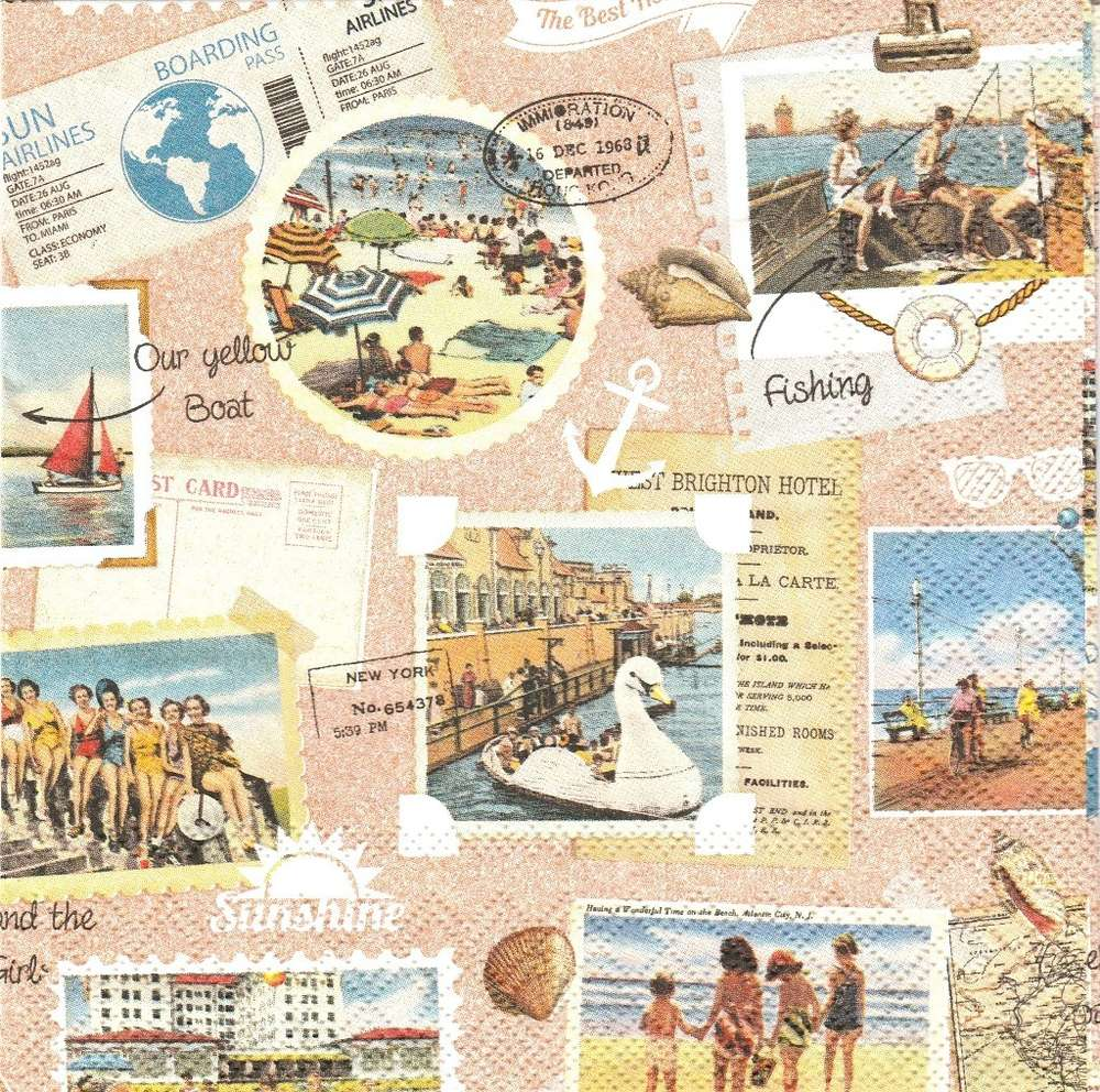 2 Paper Napkins Vacation Scrapbook Passioncreationcollection