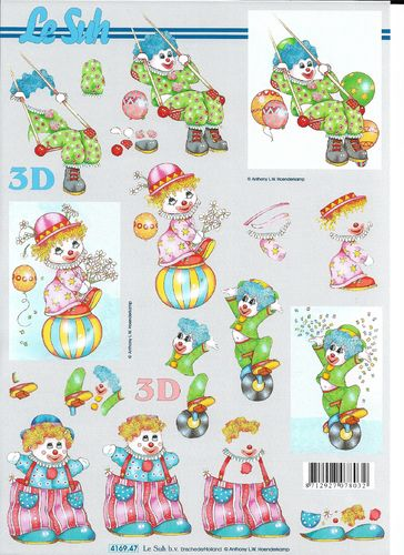 3D Sheet A4 4169-047 Circus Clown