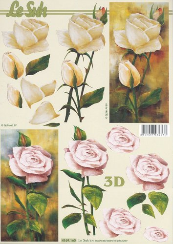 3D Decoupage Sheet A4 4169-160 Rose