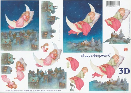 3D Decoupage Sheet A4 Baby Moon