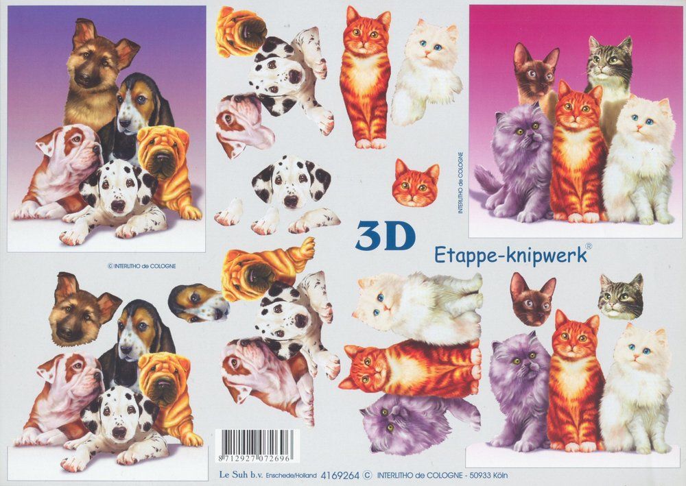 3D Decoupage Sheet Cats and Dogs
