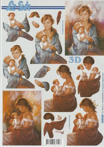 3D Decoupage Sheet A4 Mother and Child
