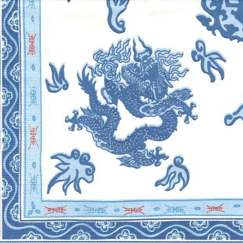 2 Serviettes papier Asie Dragon