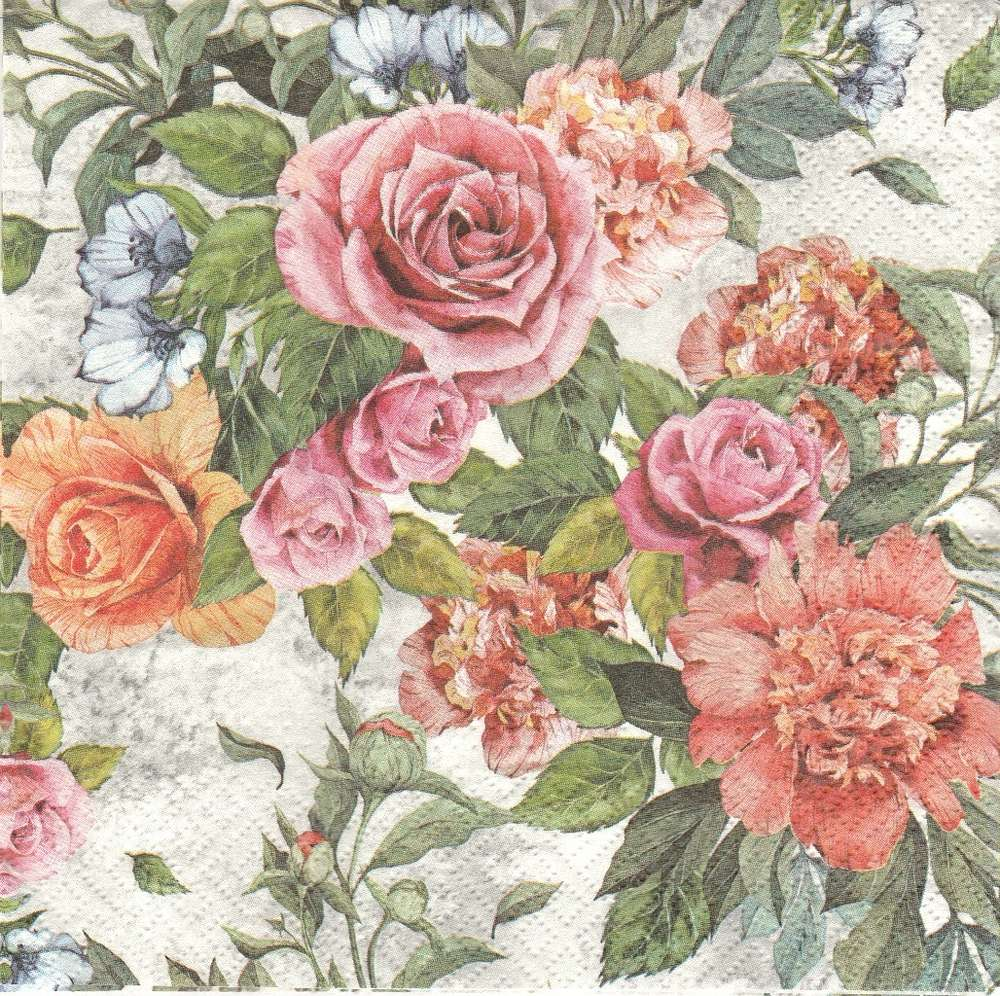 2 Paper Napkins Flowers Rose - PassionCreationCollection