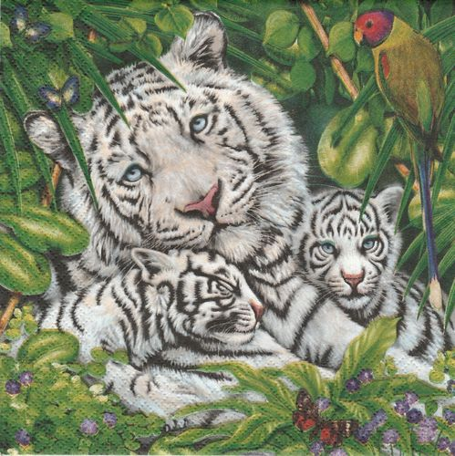 2 Serviettes papier Tigre des Neiges