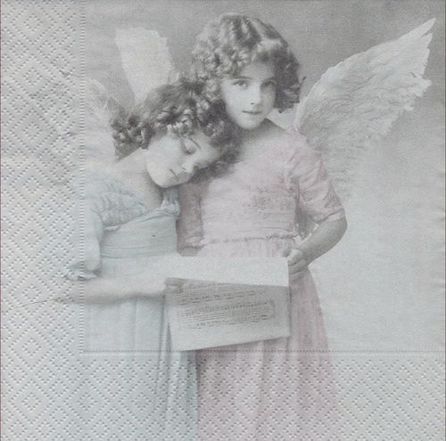 4 Paper Napkins Angels Reading
