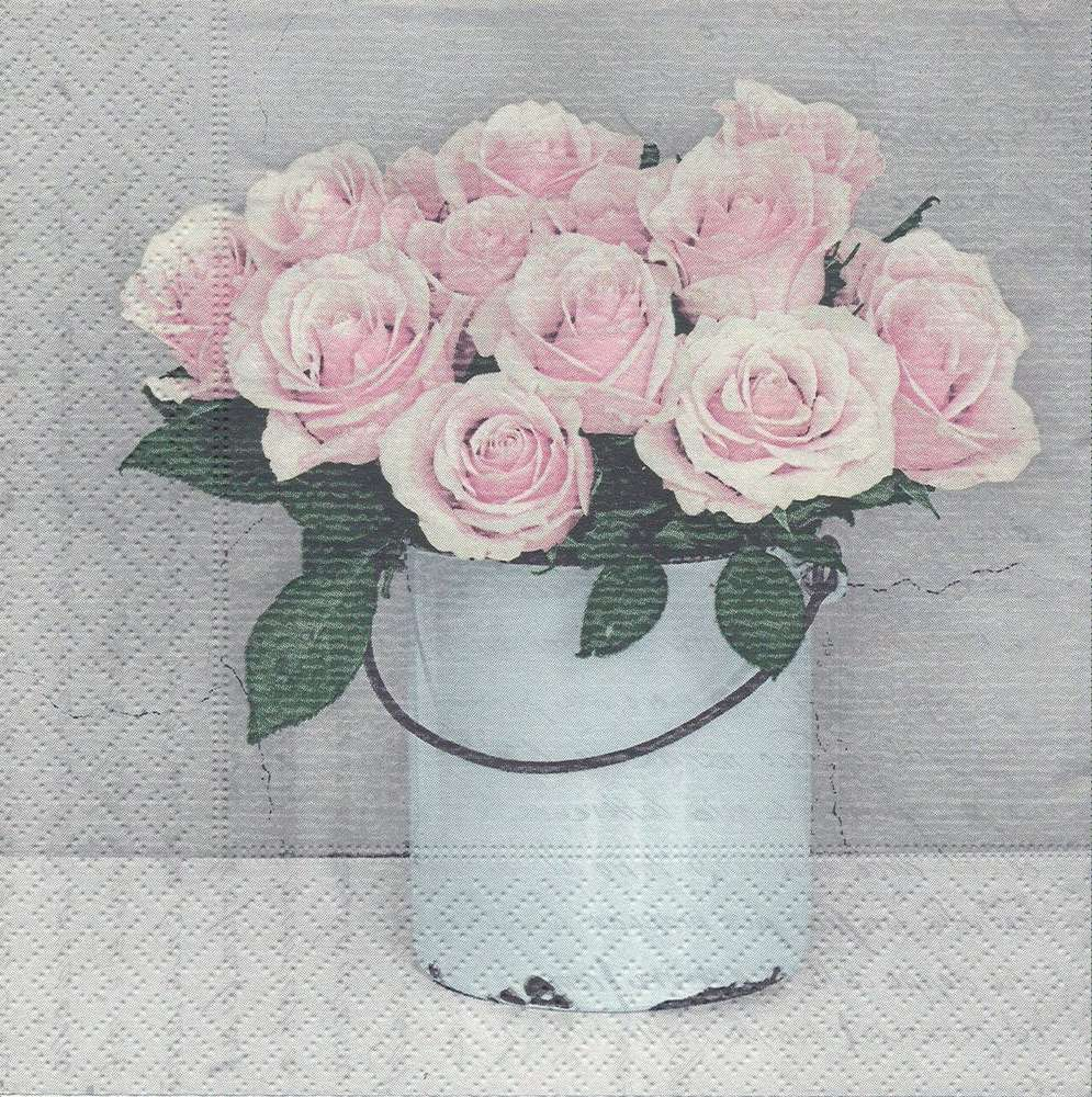 Paper Napkins Bucket with Roses - PassionCreationCollection