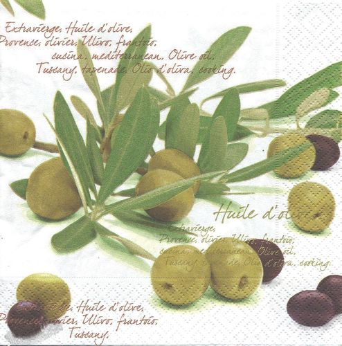 4 Serviettes papier Olives écriture