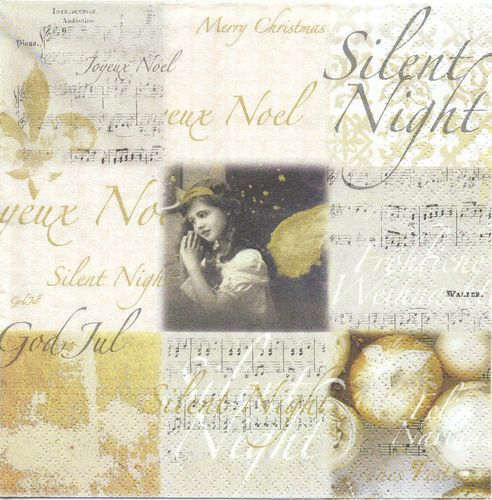 2 Paper Napkins Silent Night Angel