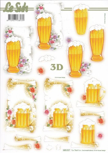 3D Die cut Sheet A4 Beer