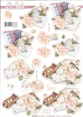 3D Die cut Sheet A4 Wedding