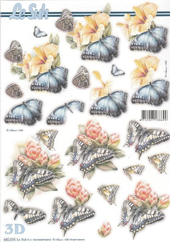 3D Die cut Sheet A4 Flowers Butterfly