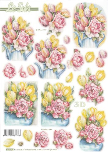 3D Die cut Sheet A4 680-104 Tulip & Rose