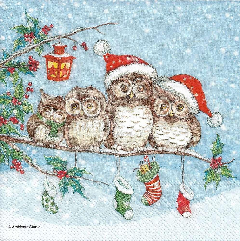 Christmas Owl.2 Paper Napkins Christmas Owls