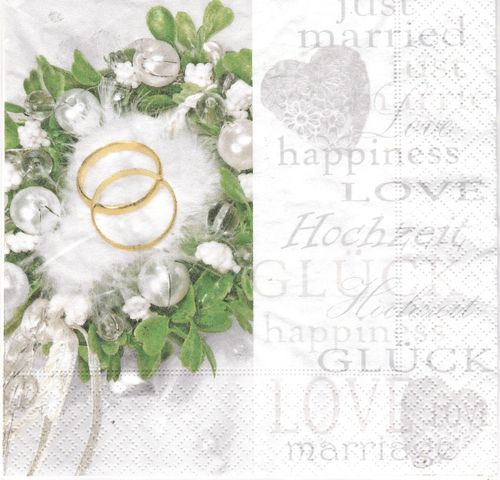 2 Serviettes papier Mariage Alliances