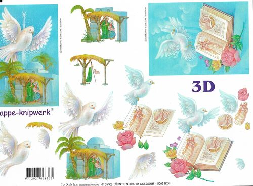 3D Decoupage Sheet A4 Crib Dove