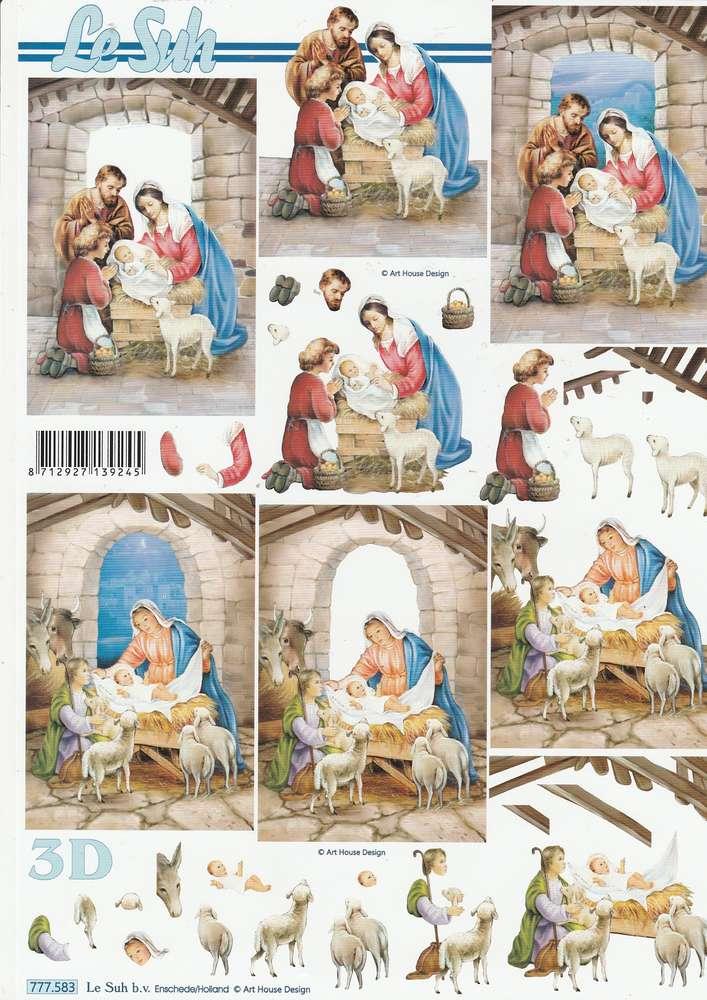 3d decoupage sheet christmas crib