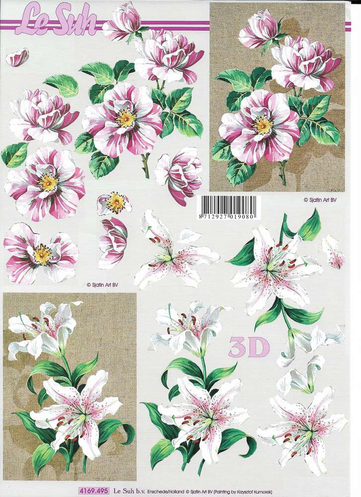 4 X Fleur 3D DECOUPIS feuilles à découper Violet * LILY rose