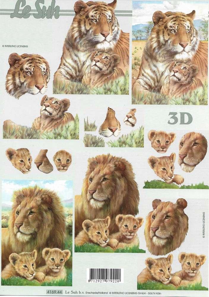 3D Sheet A4 4169-044 Lion Tiger
