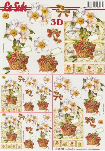 3D Decoupage Sheet A4 Christmas Flowers