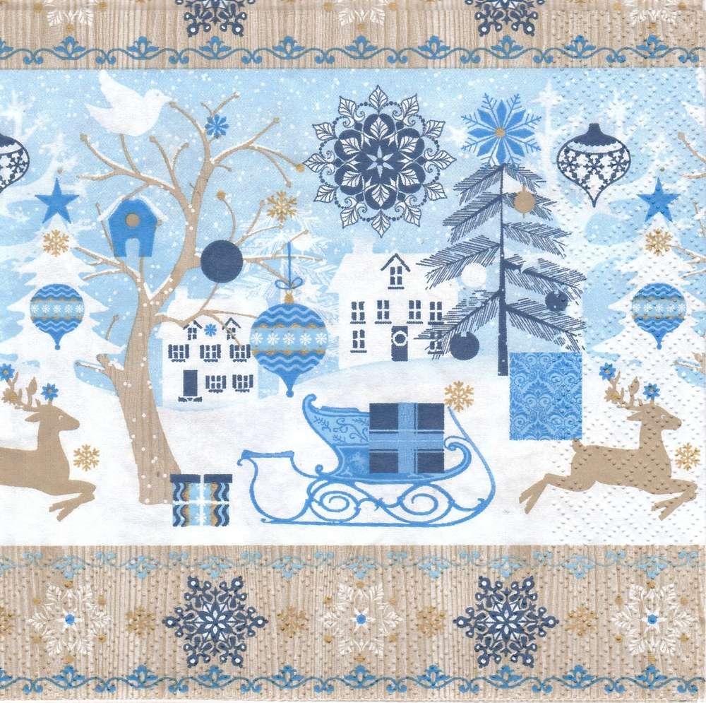 2 Serviettes Papier Paysage De Noël