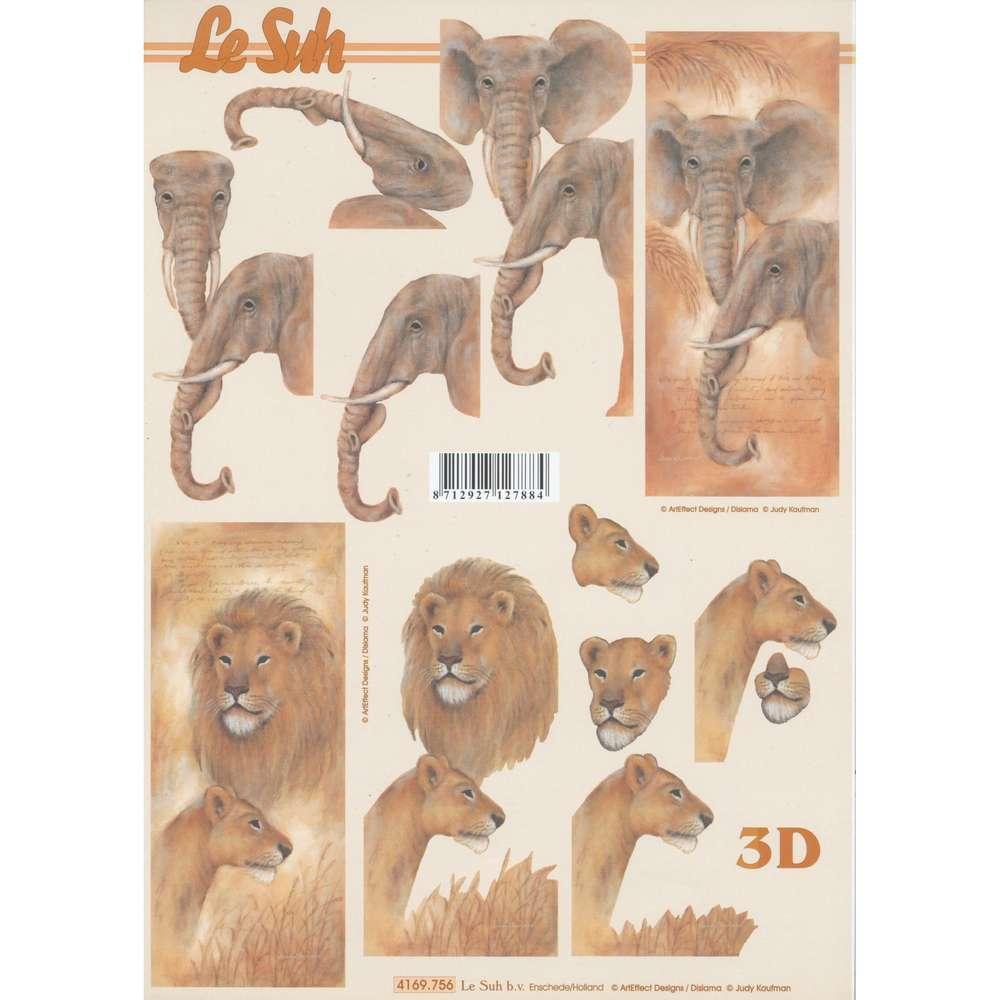 3D Decoupage Sheet Elephant Lion