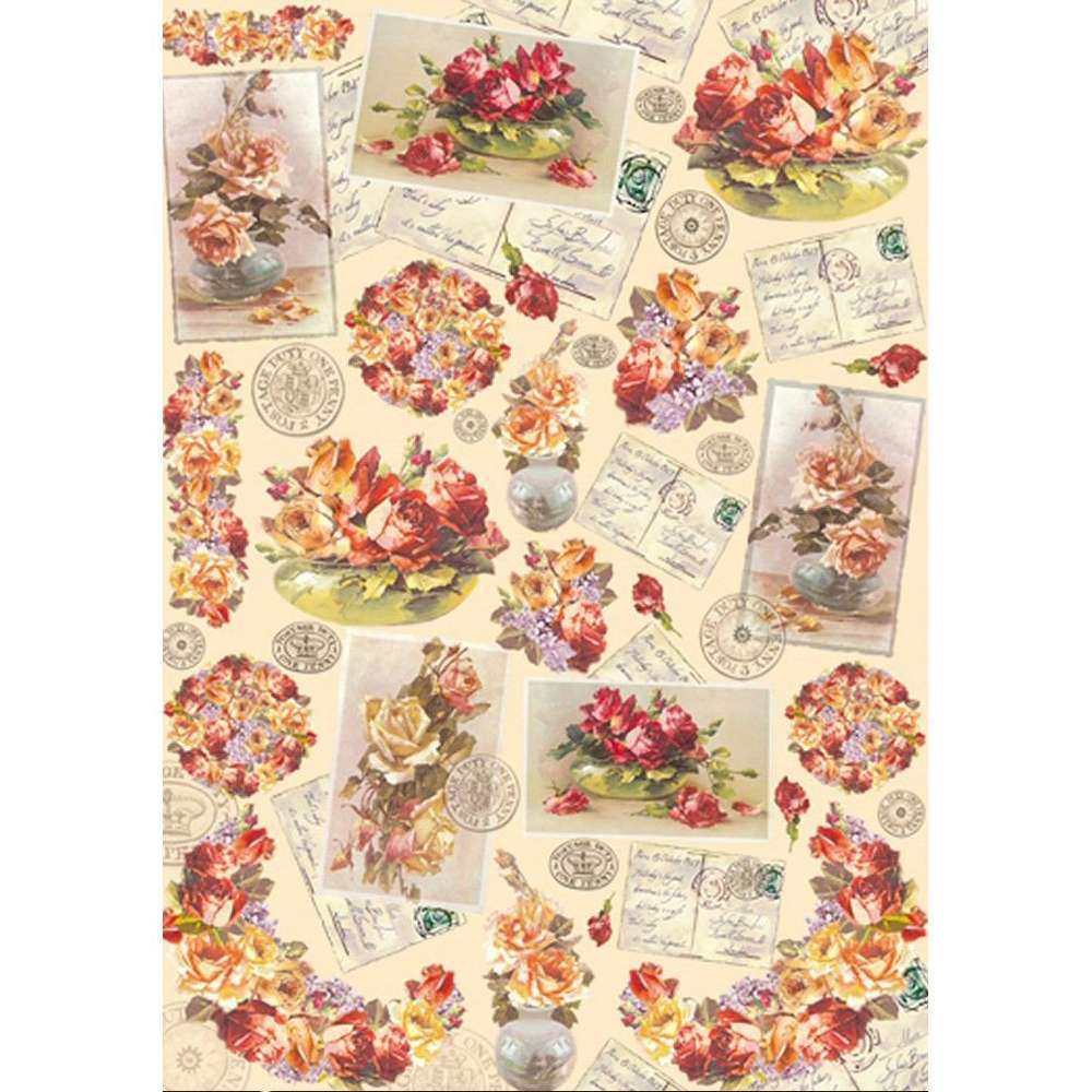 Decoupage Paper Flowers Roses Writting Dfg334