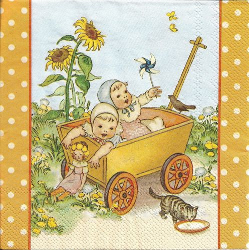 2 Serviettes papier Enfants Chat Tournesol