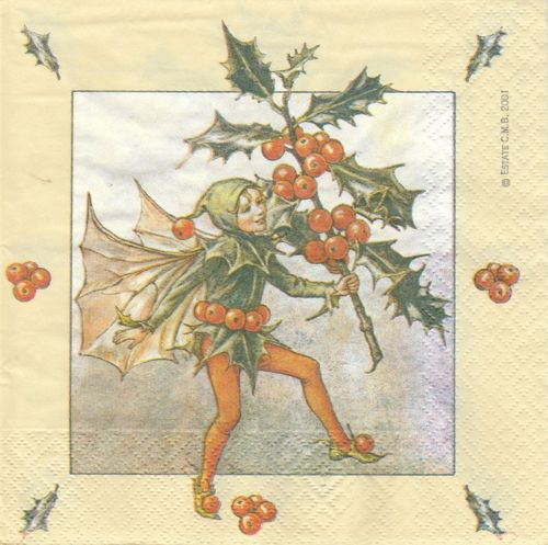 4 Paper Napkins Flower Fairies Holly