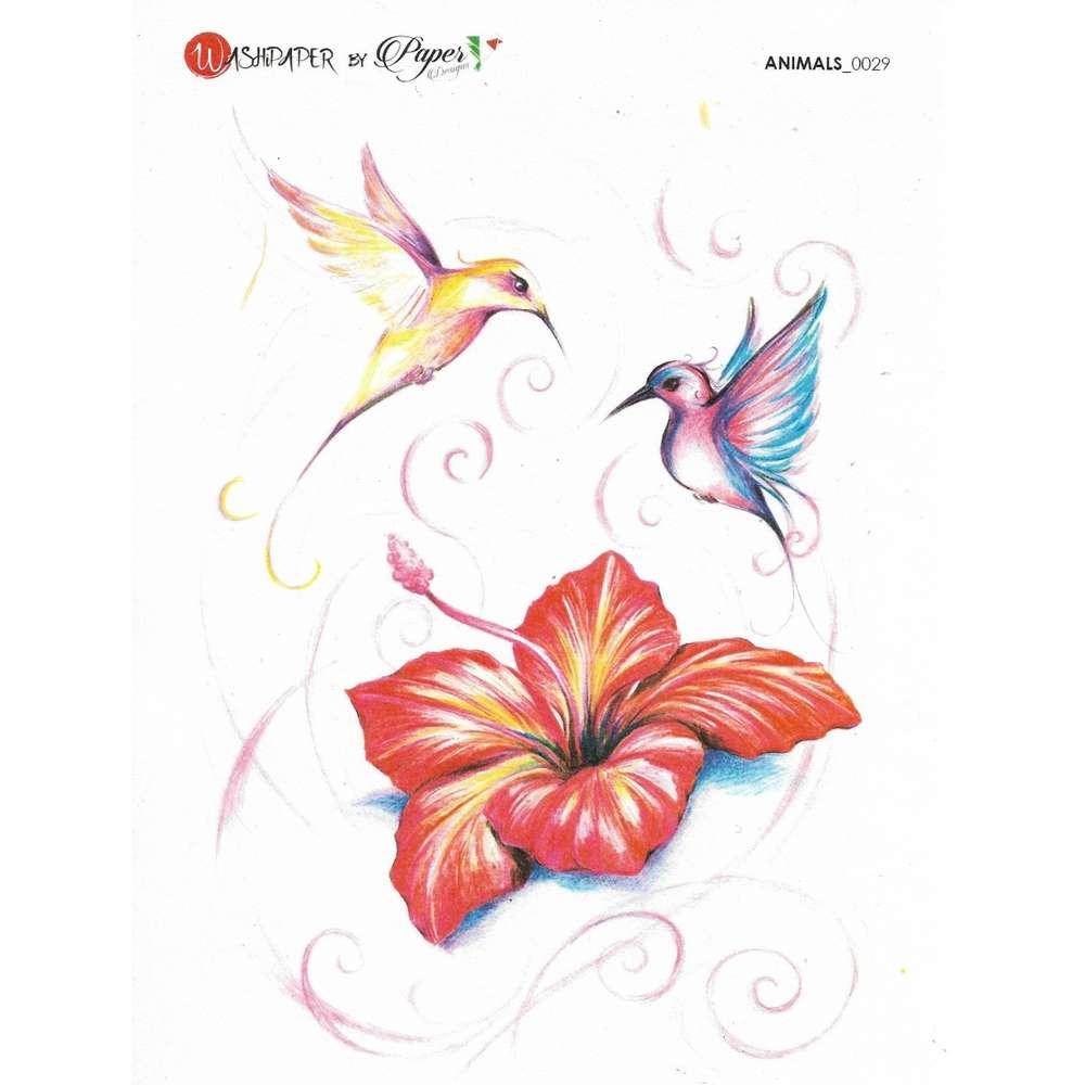 Colibri Hibiscus papier de riz 16x22 cm colibri hibiscus - passioncreationcollection