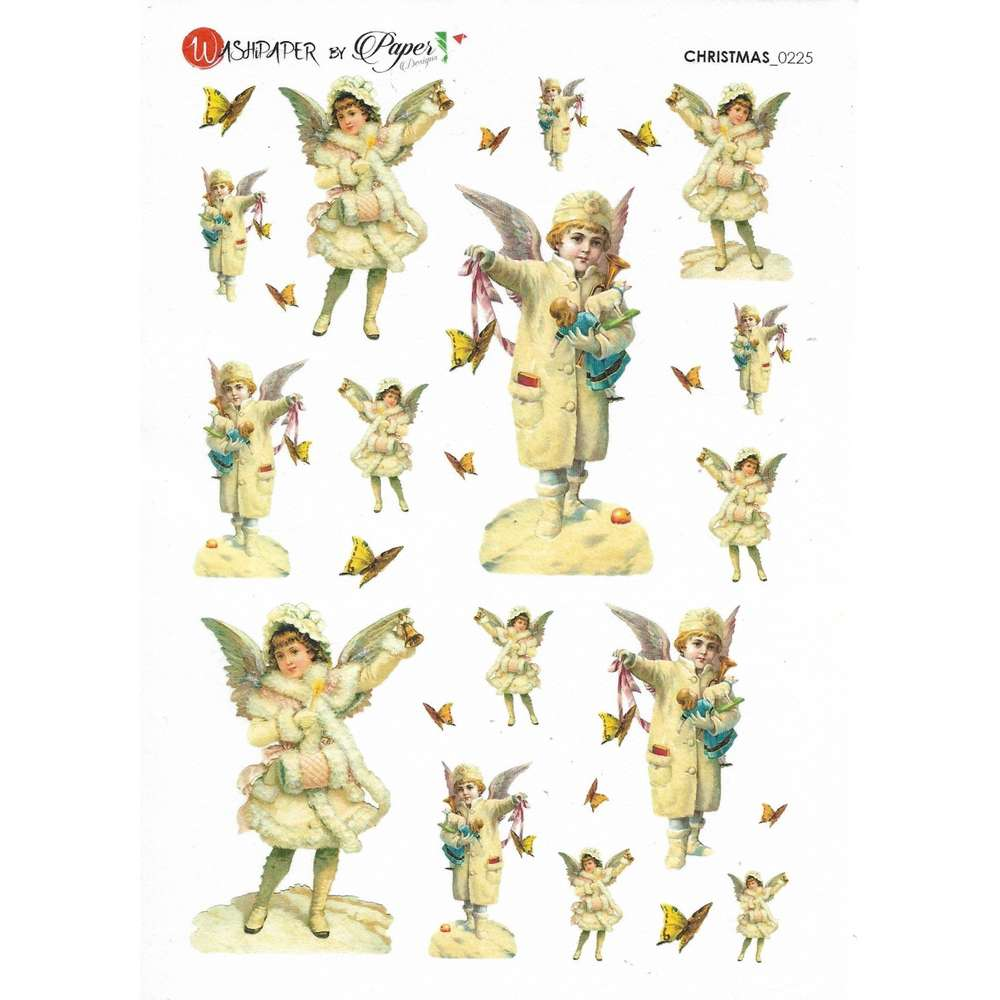 Rice Paper 16x22 cm Vintage Christmas Angels - PassionCreationCollection