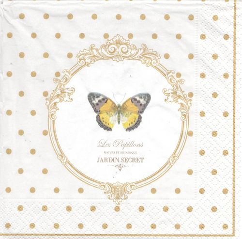 2 Serviettes papier Jardin secret Papillon