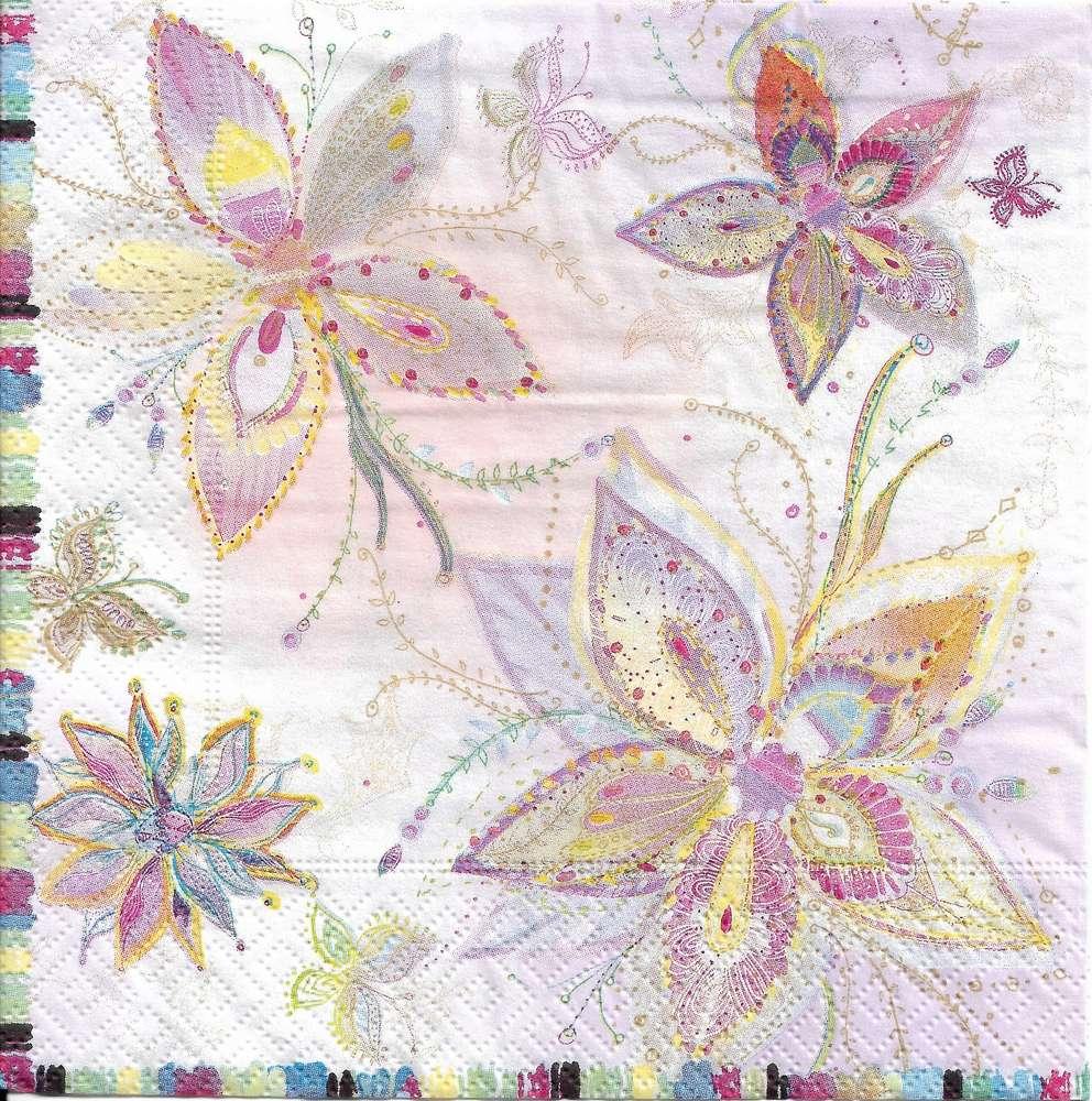 4 Serviettes Papier Fleurs Lune D Argent Passioncreationcollection