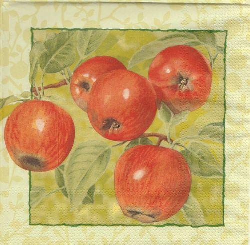 Serviettes en papier Fruit Pomme Decoupage Paper Napkins Golden Apple