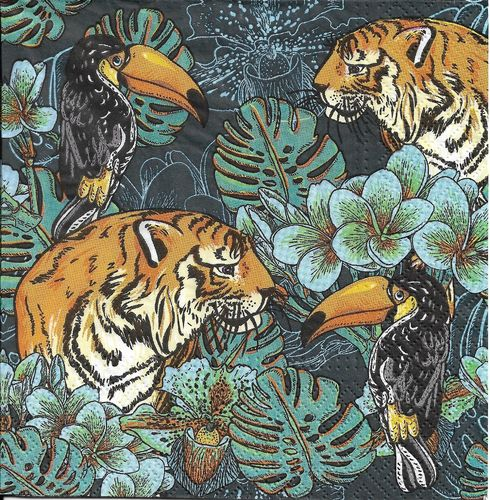 2 Serviettes papier Nature Sauvage Tigre