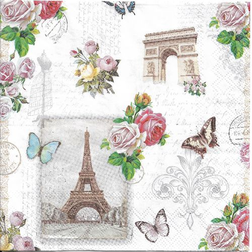 2 Serviettes papier Paris Monuments