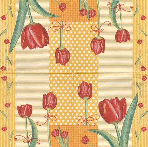 4 Serviettes papier Tulipes