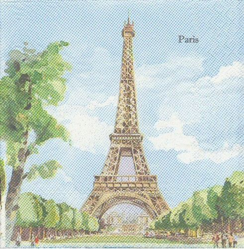 4 Serviettes papier Paris Monuments