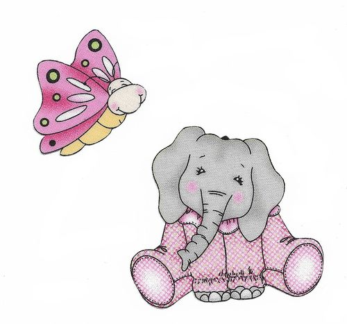 2 Iron-on patch Elephant & Butterfly