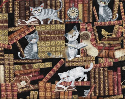Cotton Fabric Cats in the Library