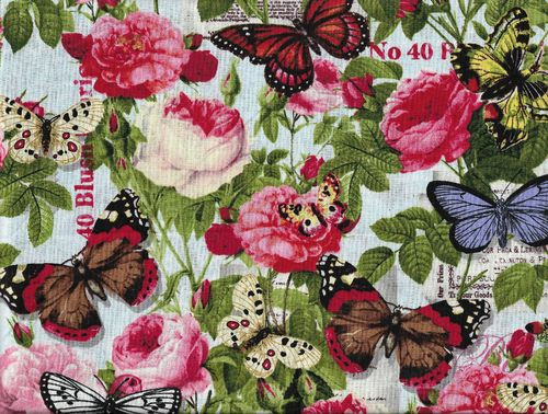 Cotton Fabric Butterflies & Roses