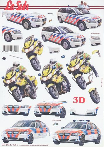 Feuille 3D 777.317 Moto Voiture Police
