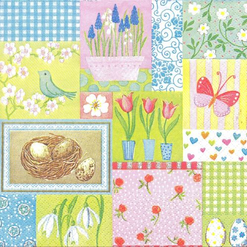 4 Serviettes papier Patchwork Printemps